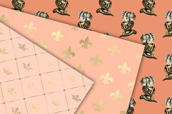 Peach and Gold Princess Digital Paper
