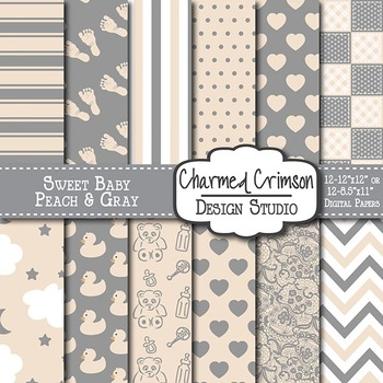 Peach and Gray Baby Digital Paper 1298