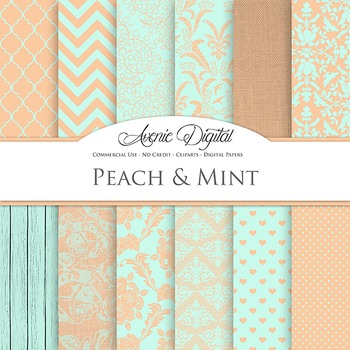 Peach and Mint Wedding Digital Paper patterns - bridal green coral backgrounds