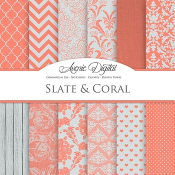 Slate and Coral Wedding Digital Paper patterns - bridal red and grey backgrounds