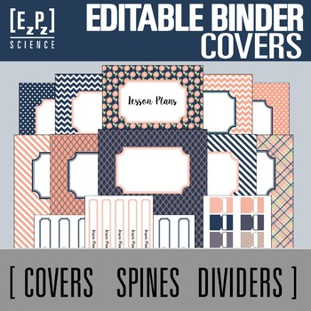 Peach and Navy Editable Binder Covers, Spines and Divider Tabs