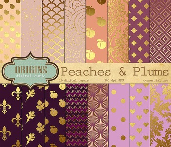 Peach and Plum Digital Paper Pink Purple and Gold Backgrounds