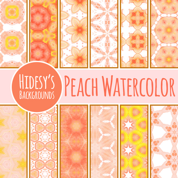 Peach and Yellow Watercolor Digital Papesrs / Clip Art Set for Commercial Use