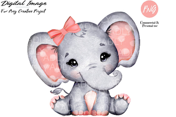 Peach girl elephant clip art, watercolor very cute little peanut,coral gray