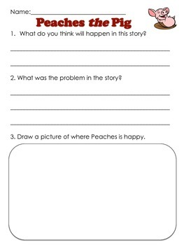 Peaches the Pig Before & After Reading Worksheet