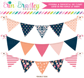 Peachy Pinks Bunting Clipart Banners