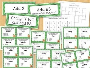 Spelling PLURAL NOUNS Task Cards S, ES, IES