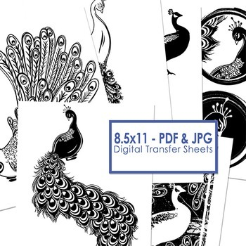 Peacock Bird Digital Stamps, Peacock ClipArt