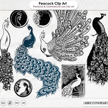 Peacock Bird Digital Stamps, Peacock ClipArt