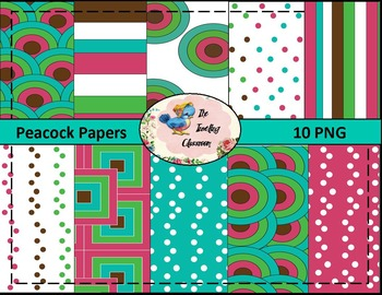 Peacock Blue Papers (Digital Papers for Commercial Use)