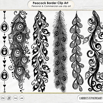 Elegant Border ClipArt, Peacock Feather, Decorative, Fancy Border Stamps