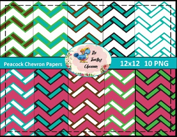 Peacock Chevron Papers (Digital Papers for Commercial Use)