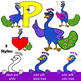 Peacock Clip Art with Signs - Letter P in Alphabet Animal Series
