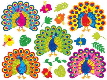 Peacock Clipart - Digital Vector Peacock, Tropical, Hibiscus, Peacock Clip Art