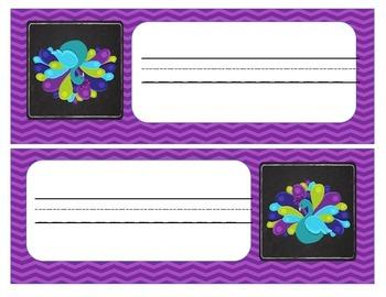 Peacock Desk Plates  Lime, Teal, and Purple (Bonus Labels)