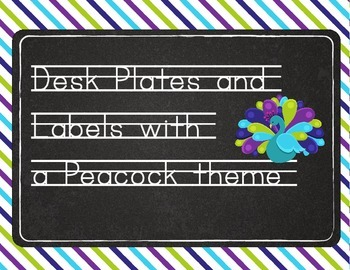 Peacock Desk Plates  Lime, Teal, and Purple (Bonus Labels)