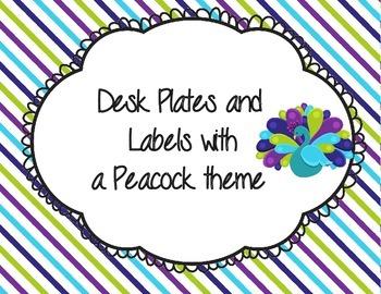 Peacock Desk Plates  Lime, Teal, and Purple (Bonus Labels) (White version)