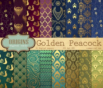 Peacock Digital Paper Patterns Backgrounds