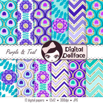 Peacock Digital Paper, Purple and Teal Backgrounds, Peacock Feather patterns