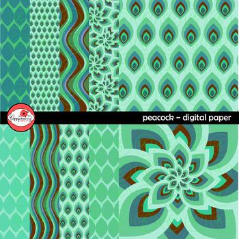 Peacock Digital Paper by Poppydreamz
