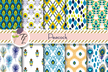 Peacock Feather Seamless Pattern Set. Digital paper pack.