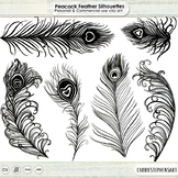 Peacock Feather Silhouette ClipArt, Bird Feathers Graphics, Fancy Design