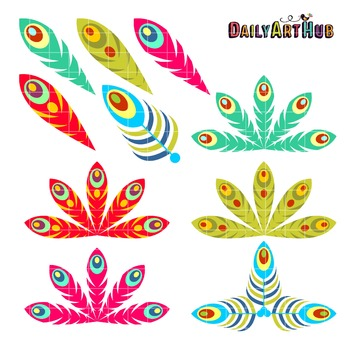 Peacock Feathers Clip Art - Great for Art Class Projects!