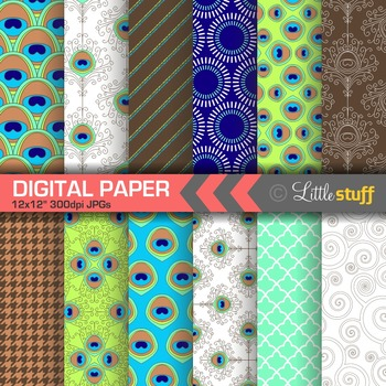 Peacock Feathers Digital Paper Pack
