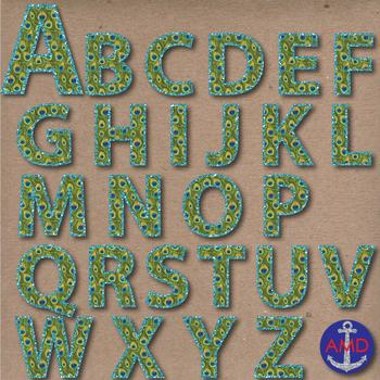 Peacock Feathers & Glitter Digital Alphabet & Numbers Clip Art Set- Letter Tiles