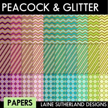 Peacock & Gold Glitter Digital Paper Set