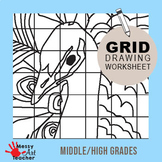 Peacock Grid Drawing Worksheet for Middle/High Grades