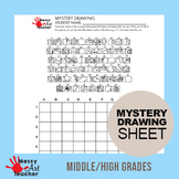 Peacock Mystery Grid Drawing Worksheet for Middle/High Grades