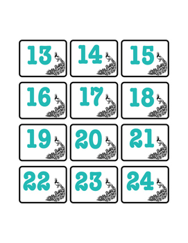 Peacock Number Labels