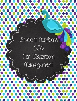 Peacock Purple, Teal, and Green Polka Dot Numbers 1-36 for Student Organization