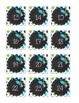 Peacock Purple, Teal, and Green Polka Dot Numbers 1-36 for