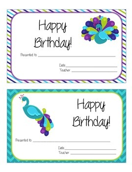 Peacock Purple, Teal, and Green Polka Dot Theme Birthday Certificates
