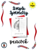 Peacock - Simple Symmetry - Draw Color Trace - 5 pages