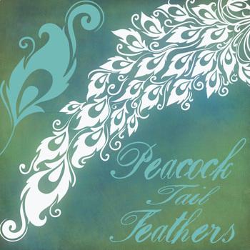 Peacock Tail Feathers Clip Art, Elegant Formal Decorative Graphic Design