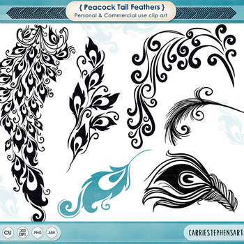 Peacock Tail Feathers Clip Art, Elegant Formal Decorative