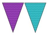 Peacock Theme Printable Banner Purple Teal Lime Green
