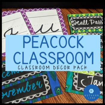 Peacock Themed Classroom Decor BUNDLE