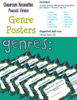 Peacock Themed ELA Essentials Poster BUNDLE + SPECIAL BONUSES!
