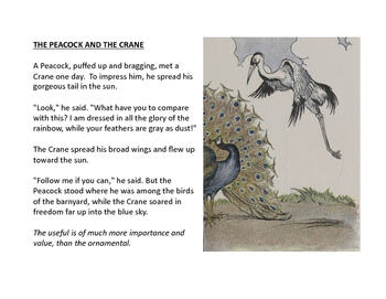 Peacock and the Crane Fable