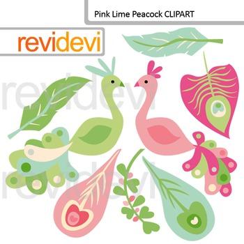 Peacock digital clip art - pink lime peacock