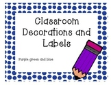 Peacock purple green and blue classroom decor bundle