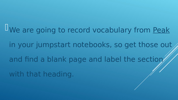 Peak Novel Vocabulary