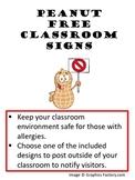 Peanut Allergy Classroom Sign