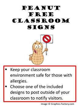 Peanut Allergy Classroom Sign