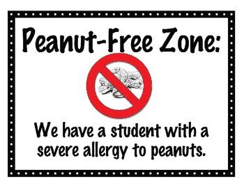 Peanut Allergy Classroom Sign {freebie}