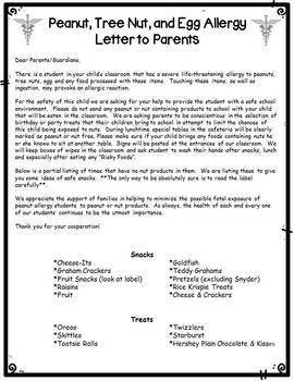 Peanut Allergy Note & Poster {FREE}